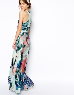 ASOS | ASOS SALON Pleated Crop Top Maxi Dress at ASOS