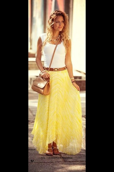 yellow skirt shirt maxi skirt