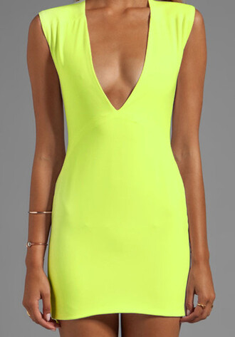 dress summer outfits yellow neon bodycon dress v neck neck plunge deep sleeveless clubwear tan
