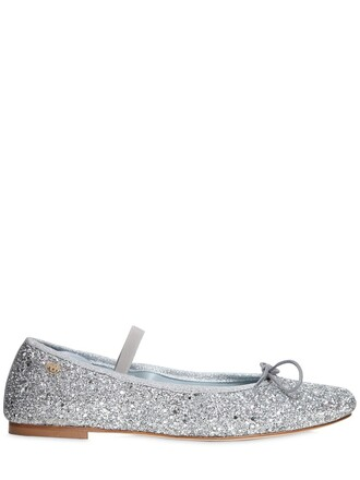 glitter flats lace silver shoes