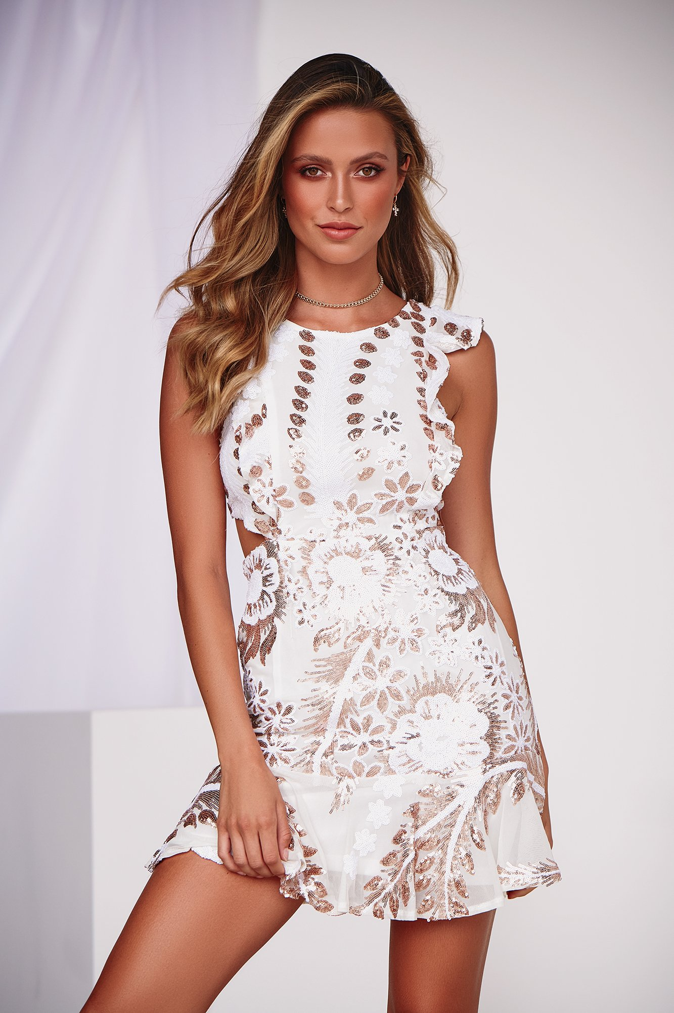 Love In The Air Dress (White/Rose Gold)