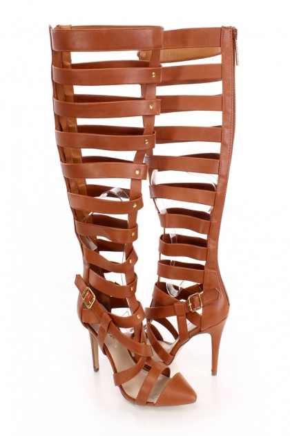 Single Sole Gladiator Heels Faux Leather