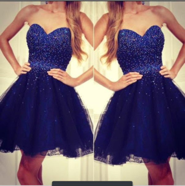 Dark Blue Short Prom Dresses with Sparkles