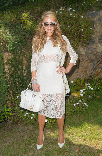 dress lace lace dress white dress white lace dress paris hilton pumps midi dress