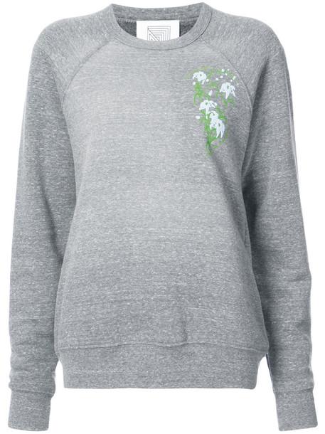 Rosie Assoulin sweatshirt women floral cotton print grey sweater