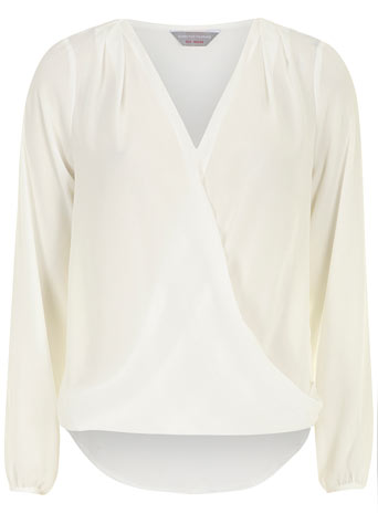 Petite ivory wrap blouse - View All Tops - Tops & T-Shirts  - Clothing - Dorothy Perkins