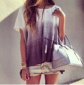 shirt dip dyed ombre purple white top cute grey shirt ombre bleach dye triable cute shirt t-shirt tie dye grey top summer indie hipster hippie bag casual grey black ombre shirt blouse ombre top oversized blue t shirt purple ombré purple top white top trendy back to school girly girl flowy