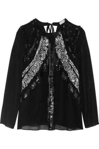 blouse chiffon blouse chiffon embellished black silk top