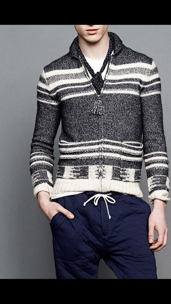 sweater stripped zip up sweater