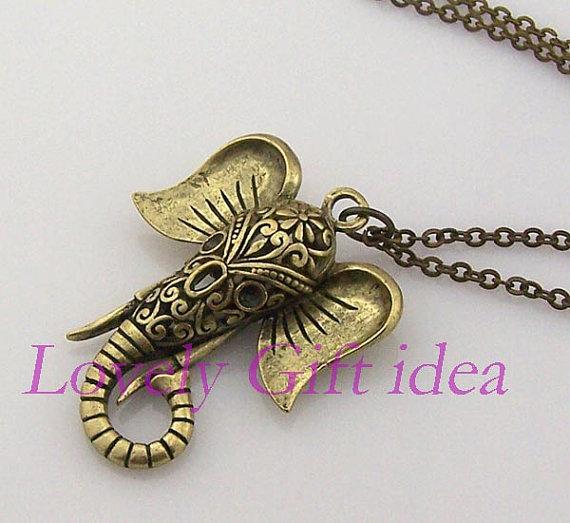 Elephant necklacehollow out elephant by lovelygiftidea on etsy