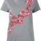 Carven - floral embroidered t-shirt - women - cotton - m, grey, cotton