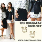 jewels,twice blessed bloggers,fbloggers,fashion bloggers,ring set,ring,silver ring,knuckle ring,cameo the label