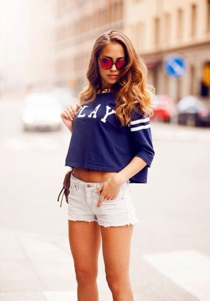 Tank top: crop tops, blue, baseball, sunglasses, long hair, tumblr ...