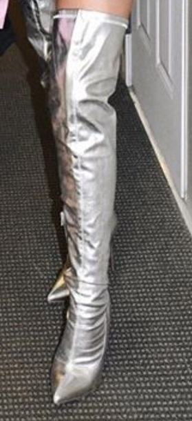shoes space boots silver boots thigh highs thigh-high boots