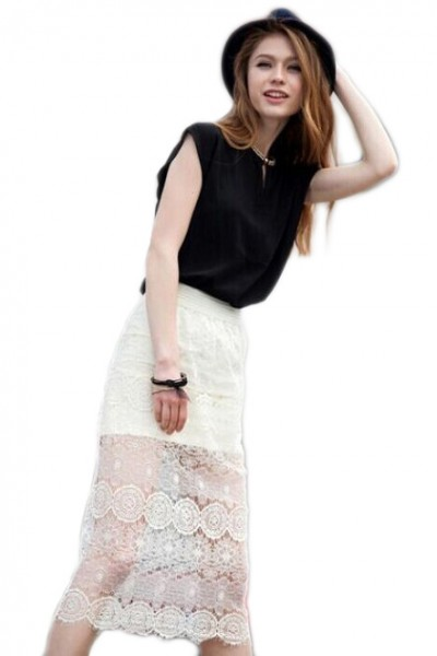 KCLOTH Flower Lace Pencil Skirt in White