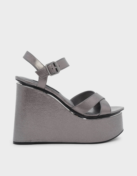 cross criss cross wedges leather shoes