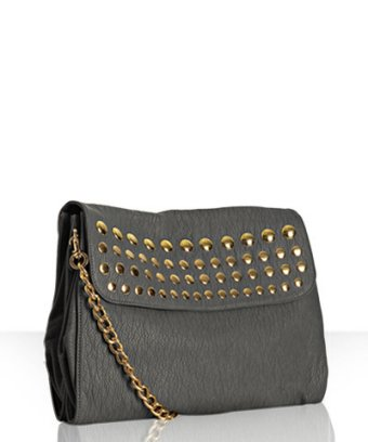 Deux Lux grey 'Piper' studded convertible clutch at Bluefly