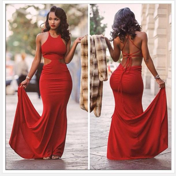 Sexy Red Satin Mermaid Evening Dresses Sleeveless Crisscross ...