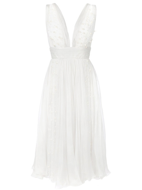 Maria Lucia Hohan dress tulle dress women spandex beaded white silk