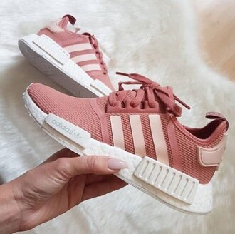 shoes adidas shoes adidas pink shoes pink sneakers pink running shoes pastel salmon white light pink adidas nmd adidas nmd r1 pink