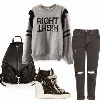 sweater gray black white grey sweater right black jeans jeans denim black denim bag shoes sneaker wedge wedges wedge sneakers