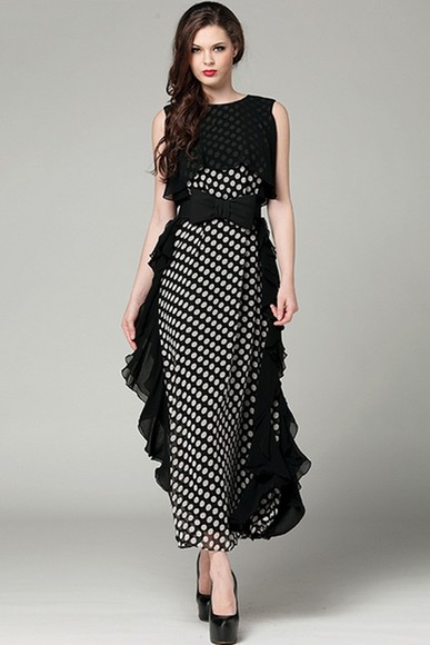 dress maxi polka dots polka