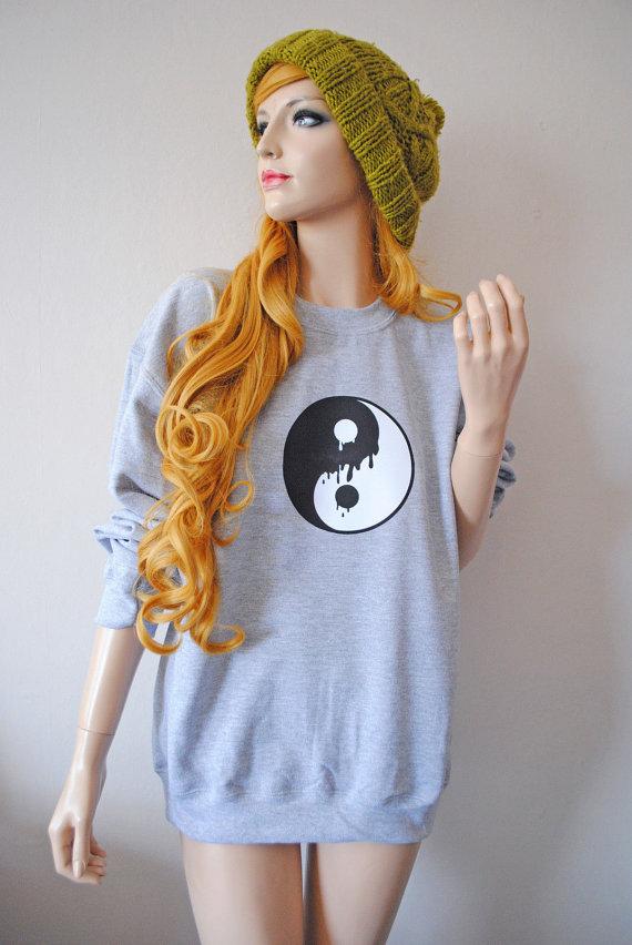 Grey Dripping Yin Yang Sweater