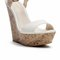 Banded cork wedge sandal - white