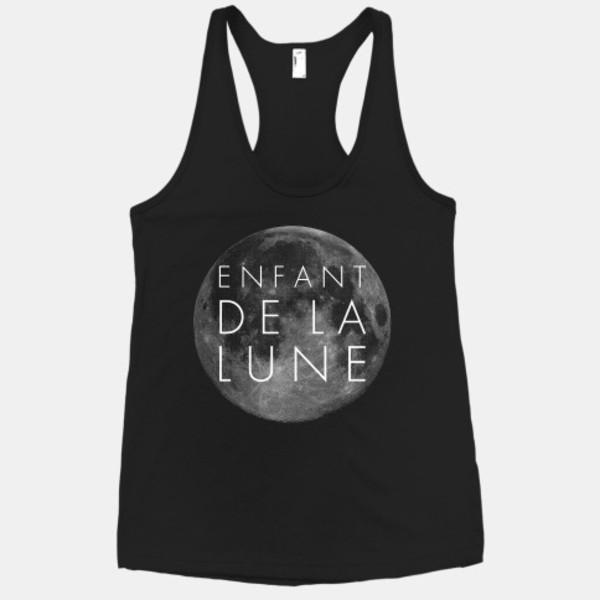 tank top black enfant de la lune moon graphic tee print grey grey t-shirt