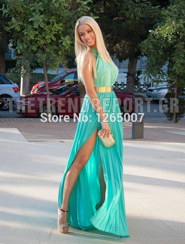 Aliexpress.com : Buy Doukissa Ourania Halter Ruffles Ouro Belt fenda alta moda verde da hortelã uma linha de Verão Vestidos Pargent Moda Vestidos from Reliable vestido suppliers on SFBridal