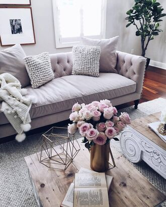 home accessory sofa tumblr home decor furniture home furniture living room flowers table blanket knitted pillow pillow plants