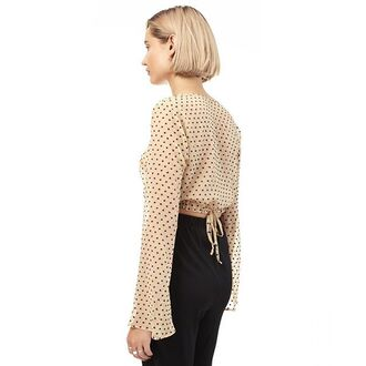 top shopsaul crop tops polka dots nude nude top sheer sheer top silk silk top chiffon chiffon top flared sleeve long sleeves long sleeve crop top delicate feminine embroidered navy camel saul crop tops embrodering flare