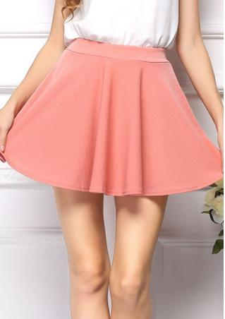 Women's elastic high waist pleated hem pure color skirts online