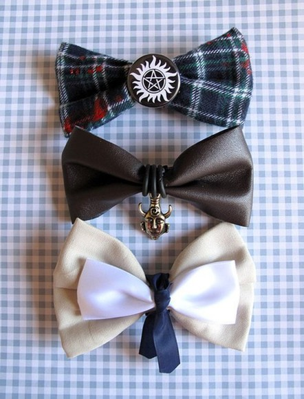 tumblr shirt supernatural cas dean sam bow tie accessories jewels movie gold plaid bows white brown instagram bow hair bow
