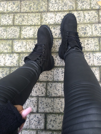jeans black leather trousers biker jeans pants knee patch leather look boots booties shoes
