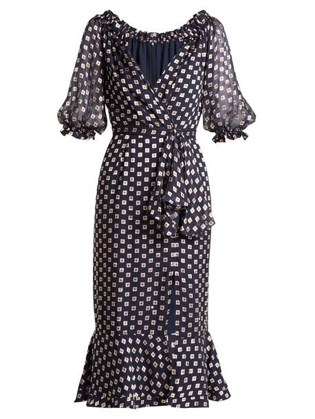 dress print silk navy
