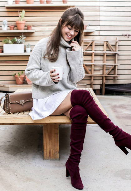 e2eee9fa763 shoes tumblr sweater grey sweater dress white dress mini dress shirt dress  boots burgundy over the