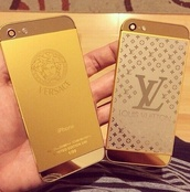 jewels,phone cover,versace,gold,louis vuitton,iphone,iphone cover,gold iphone,gold iphone cover,designer,stickers,phone decal,iphone 5 case,iphone 6 case