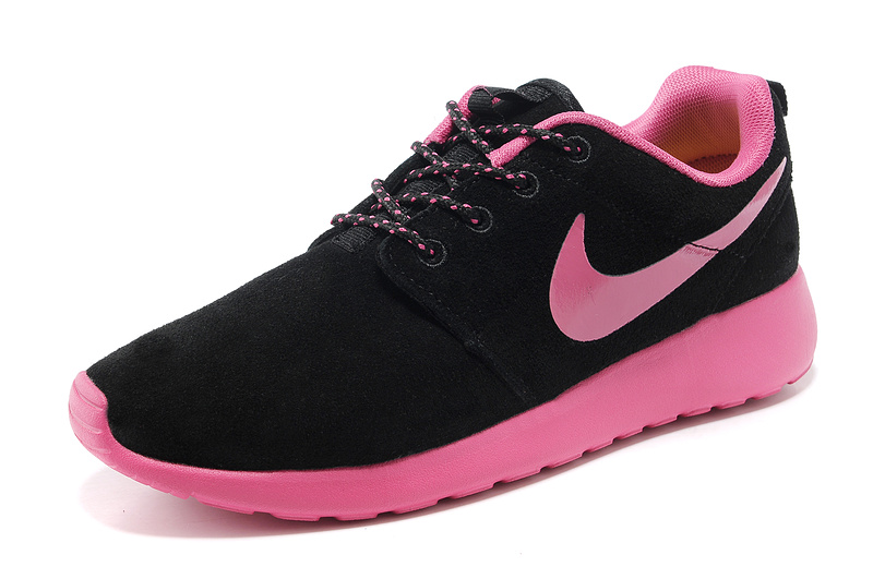 nike roshe run women black hot pink suede running shoes hot pink black women roshe run sale