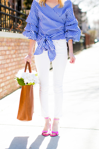 kelly in the city - a preppy chicago life style and fashion blog blogger shoes top bag jeans jewels sandals tote bag blouse high heel sandals