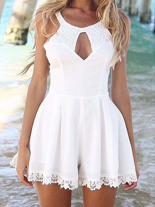 White Lace Splicing Sexy Hollow Skirt Jumpsuit - Sheinside.com