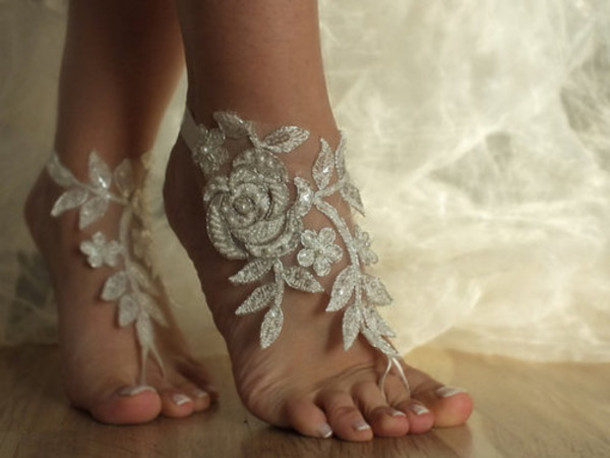 Shoes Floral Silver Feet Jewelry Accesoires Festival Girly Beach Romantic Roses Sequins Leafs Wedding