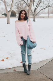 andystyle,blogger,jeans,bag,shoes,pink sweater,blue bag,winter outfits,ankle boots,off the shoulder sweater