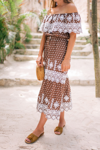 skirt tumblr midi skirt brown polka dots matching set top crop tops off the shoulder off the shoulder top sandals flat sandals mules shoes