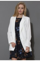 Charms One-Button Boyfriend White Blazer - Retro, Indie and Unique Fashion