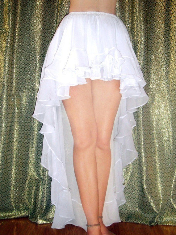 ameynra fashion skirt high low white chiffon with ruffle