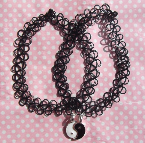 Yin yang friendship 90s black tattoo choker from kawaii kave on storenvy