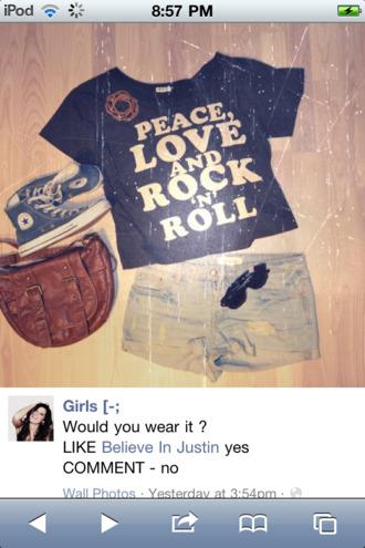 shirt peace vintage chuck taylor all stars all star shorts blue