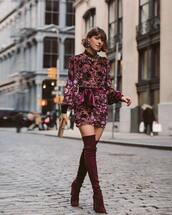 dress,mini dress,over the knee boots,handbag,mini bag,velvet dress,earrings,party dress