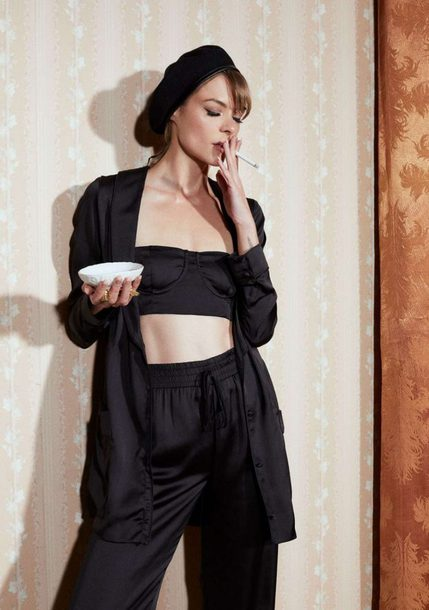 top crop tops bra bralette all black everything pants blazer jaime king editorial